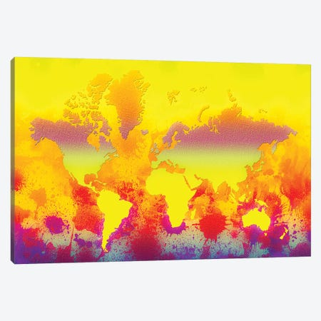 Glowing World Map 3-Piece Canvas #ZDZ50} by Zaira Dzhaubaeva Canvas Artwork