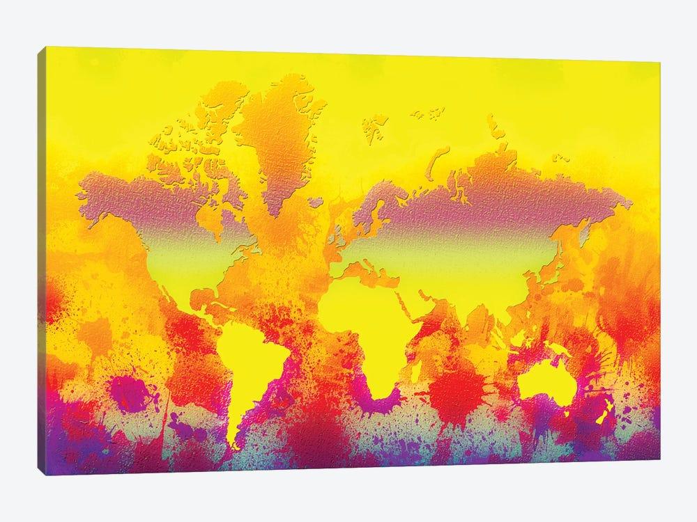 Glowing World Map by Zaira Dzhaubaeva 1-piece Canvas Artwork