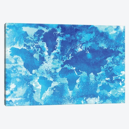 Aqua World Map Canvas Print #ZDZ5} by Zaira Dzhaubaeva Canvas Art