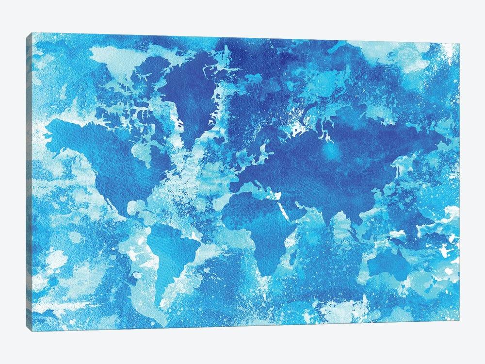 Aqua World Map by Zaira Dzhaubaeva 1-piece Canvas Art