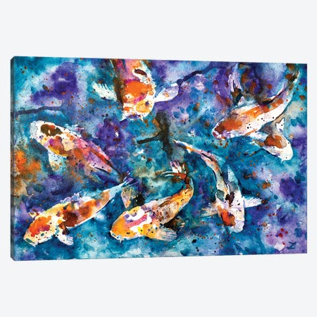 Koi Impression Canvas Print #ZDZ60} by Zaira Dzhaubaeva Art Print