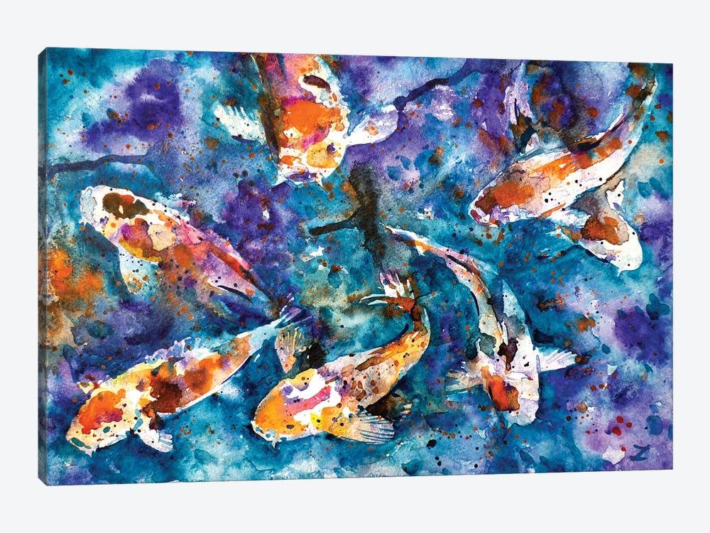 Koi Impression by Zaira Dzhaubaeva 1-piece Canvas Print