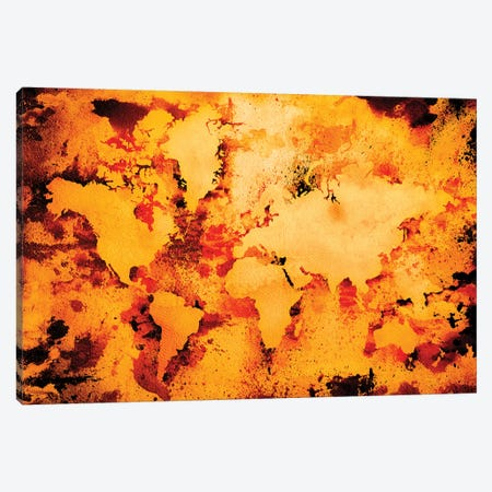 Lava World Map Canvas Print #ZDZ61} by Zaira Dzhaubaeva Canvas Art Print
