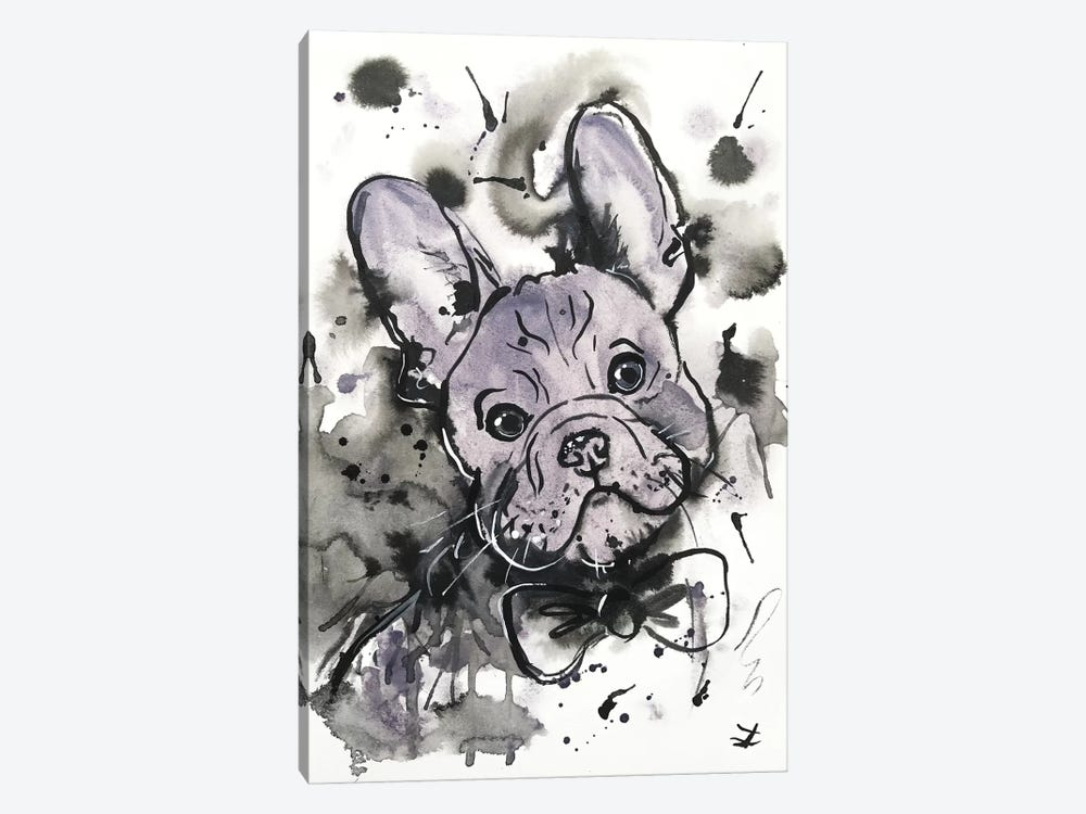 Lilac Frenchie by Zaira Dzhaubaeva 1-piece Canvas Art Print