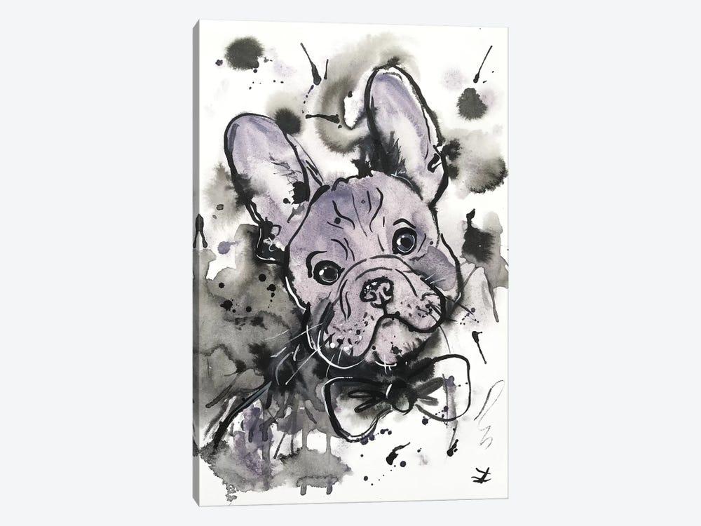 Lilac Frenchie by Zaira Dzhaubaeva 1-piece Canvas Art Print