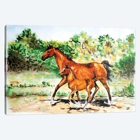 Mare With Foal 3-Piece Canvas #ZDZ69} by Zaira Dzhaubaeva Art Print