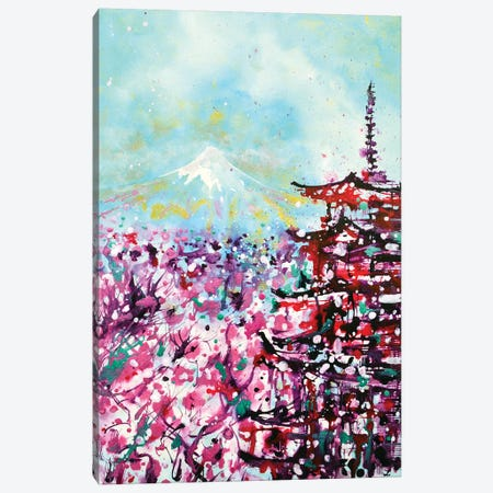 Mount Fuji And The Chureito Pagoda In Spring 3-Piece Canvas #ZDZ73} by Zaira Dzhaubaeva Canvas Wall Art