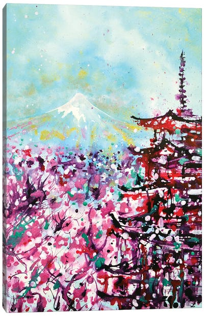 Mount Fuji And The Chureito Pagoda In Spring Canvas Art Print