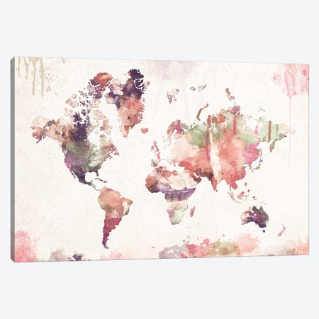 Old Memories World Map Canvas Print #ZDZ76} by Zaira Dzhaubaeva Canvas Print