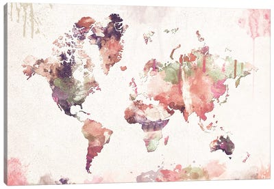 Old Memories World Map Canvas Art Print