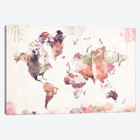 Old Memories World Map Canvas Print #ZDZ76} by Zaira Dzhaubaeva Canvas Print