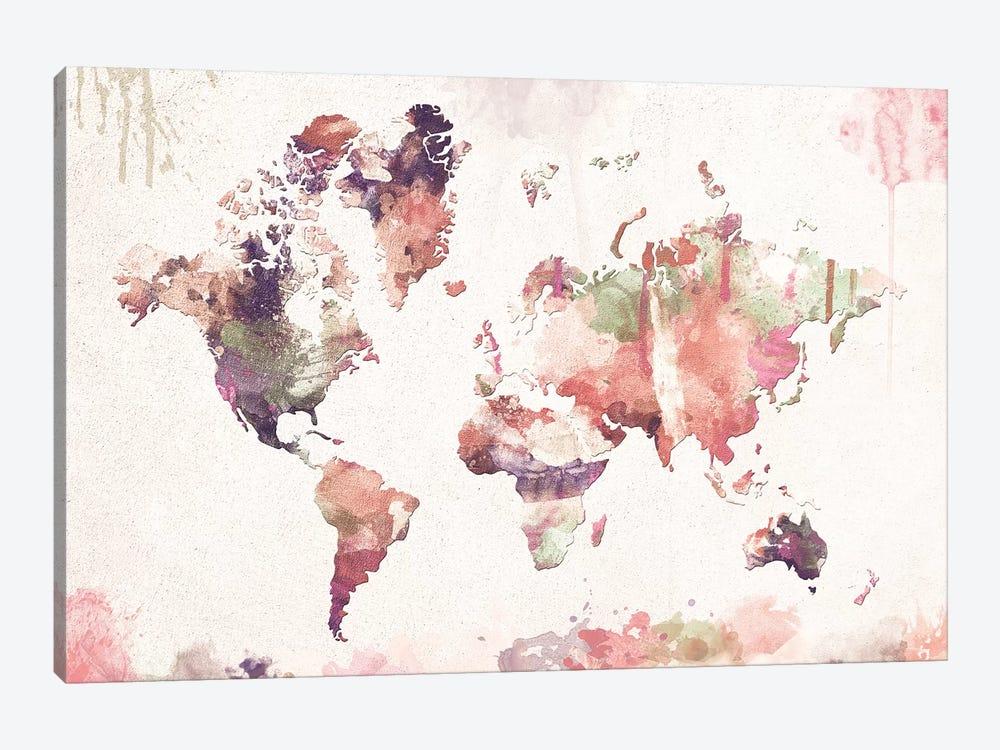 Old Memories World Map by Zaira Dzhaubaeva 1-piece Canvas Artwork