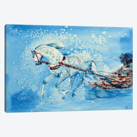 One Horse Open Sleigh Canvas Print #ZDZ78} by Zaira Dzhaubaeva Canvas Wall Art