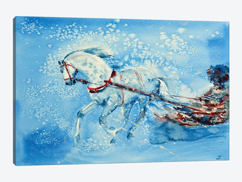 One Horse Open Sleigh by Zaira Dzhaubaeva 1-piece Canvas Art
