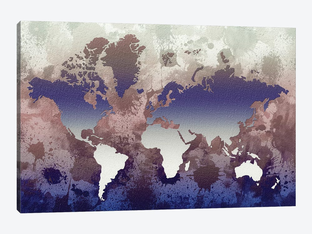 Aquatic World Map 1-piece Canvas Art