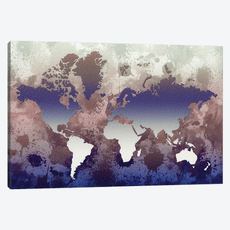 Aquatic World Map 3-Piece Canvas #ZDZ7} by Zaira Dzhaubaeva Canvas Wall Art
