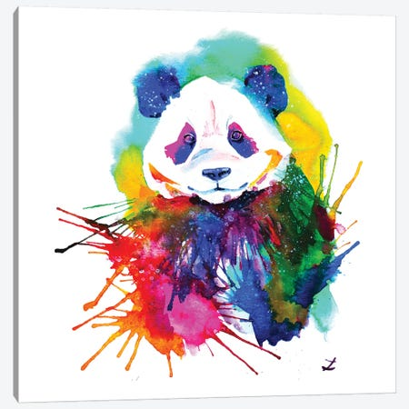 Panda Splash Canvas Print #ZDZ84} by Zaira Dzhaubaeva Canvas Artwork