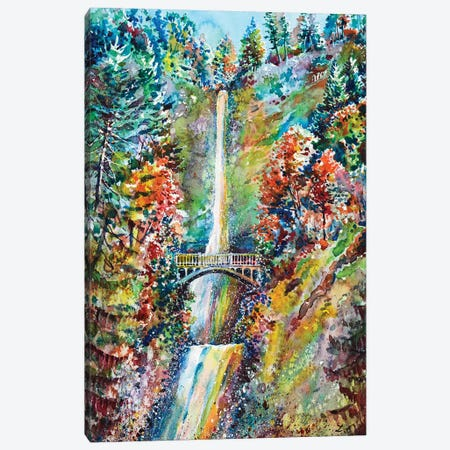 Autumn At Multnomah Falls Canvas Print #ZDZ8} by Zaira Dzhaubaeva Art Print