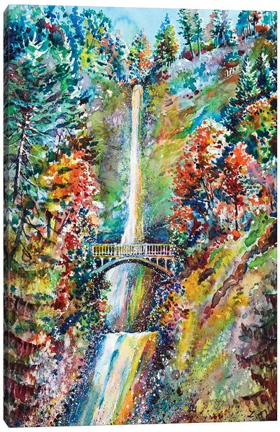 Autumn At Multnomah Falls Canvas Art Print