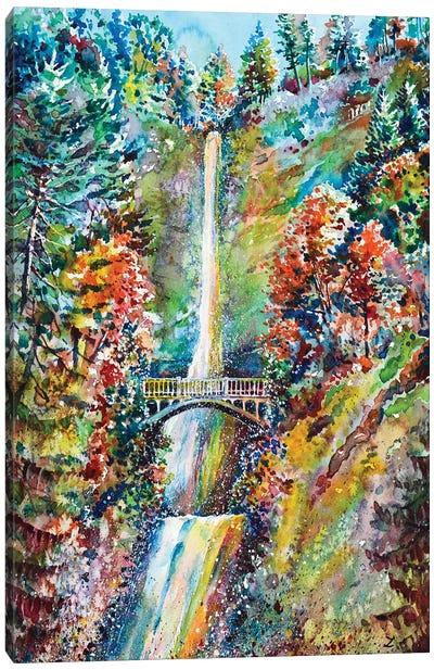 Autumn At Multnomah Falls Canvas Art Print