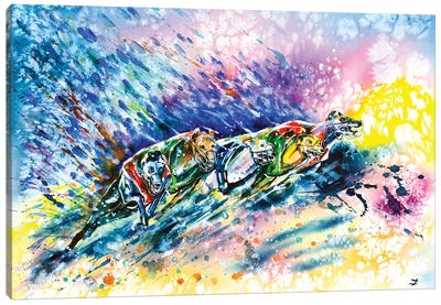 Racing Greyhounds Canvas Art Print