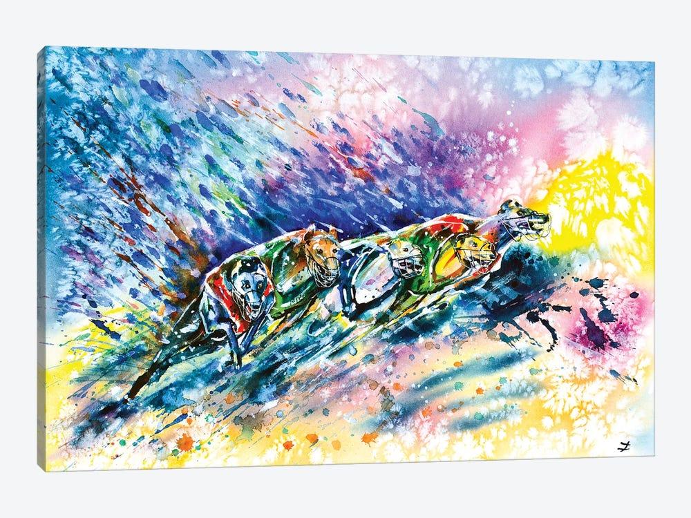 Racing Greyhounds by Zaira Dzhaubaeva 1-piece Canvas Wall Art