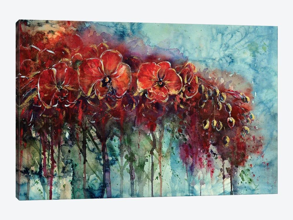 Red Orchids by Zaira Dzhaubaeva 1-piece Canvas Artwork