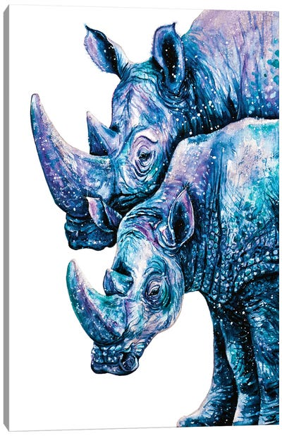 Rhinoceros Couple Canvas Art Print