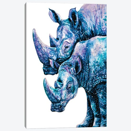Rhinoceros Couple Canvas Print #ZDZ98} by Zaira Dzhaubaeva Canvas Artwork
