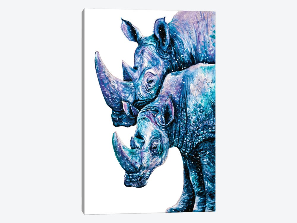 Rhinoceros Couple by Zaira Dzhaubaeva 1-piece Canvas Wall Art