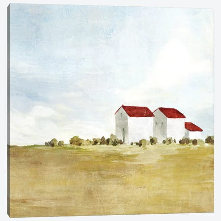 Red Farm House II  3-Piece Canvas #ZEE133} by Isabelle Z Canvas Art