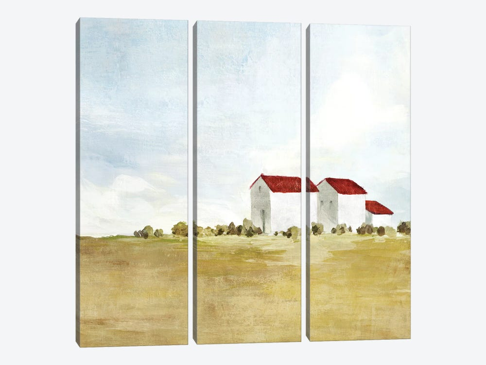 Red Farm House II  by Isabelle Z 3-piece Canvas Print