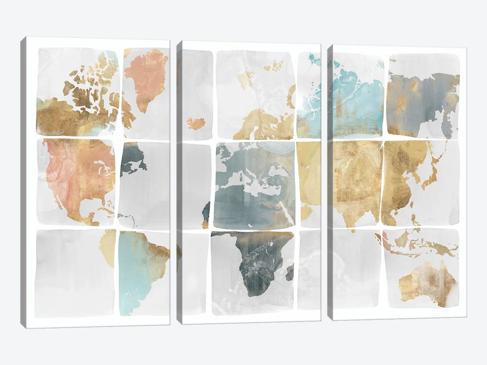 Tiled Map  by Isabelle Z 3-piece Canvas Artwork