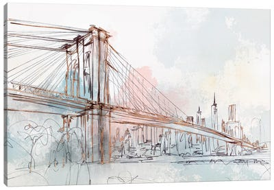 Blushing Brooklyn Bridge Canvas Art Print