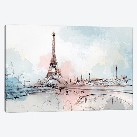 Blushing Paris  3-Piece Canvas #ZEE162} by Isabelle Z Art Print