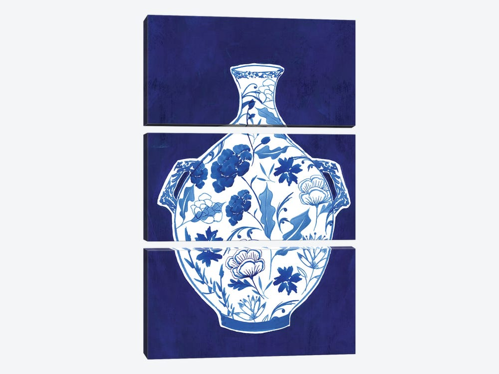 Indigo Porcelain Vase I  by Isabelle Z 3-piece Canvas Art