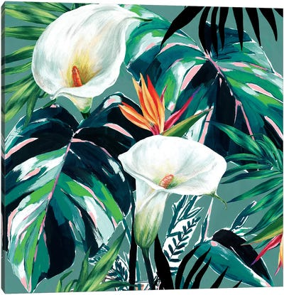 White Lily Paradise  Canvas Art Print