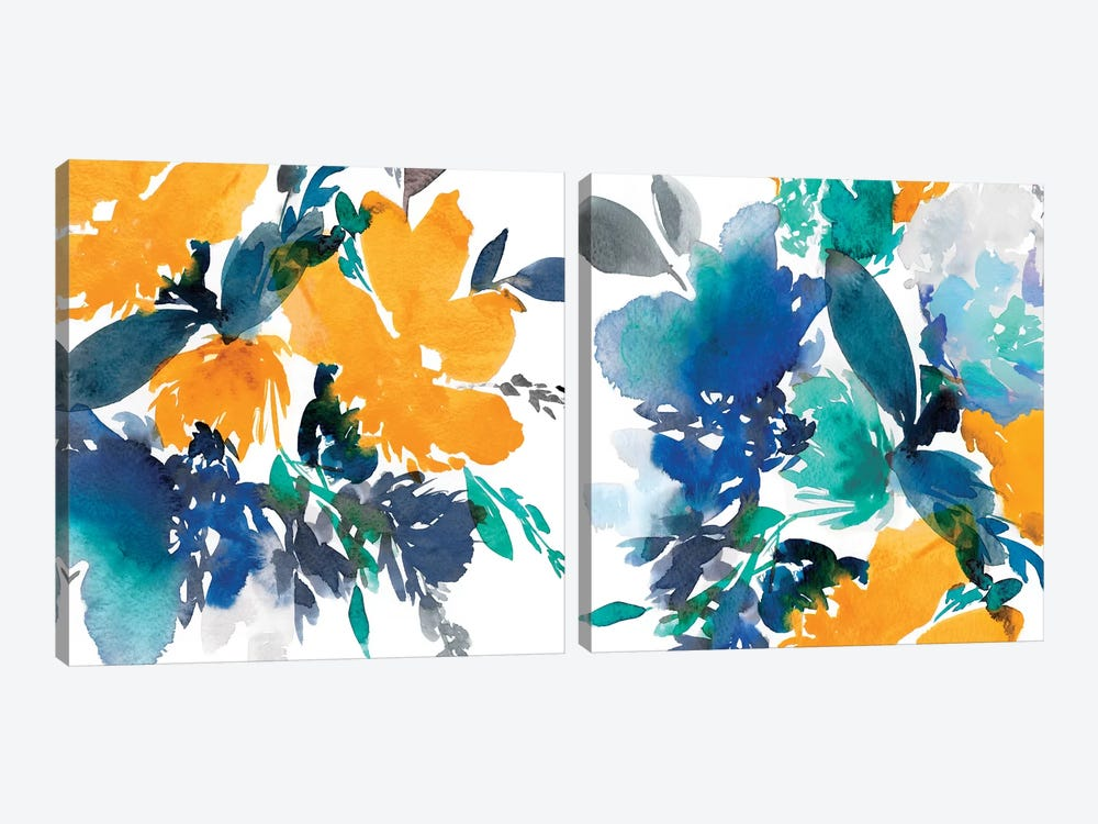 Indigo Flower Diptych by Isabelle Z 2-piece Art Print