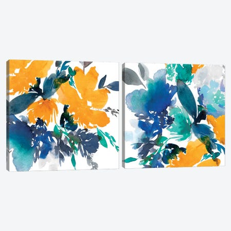 Indigo Flower Diptych Canvas Print Set #ZEE2HSET003} by Isabelle Z Canvas Print