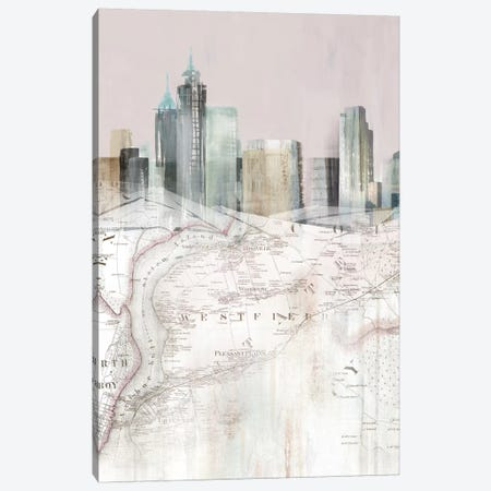 Blushing Manhattan Map I  Canvas Print #ZEE300} by Isabelle Z Art Print