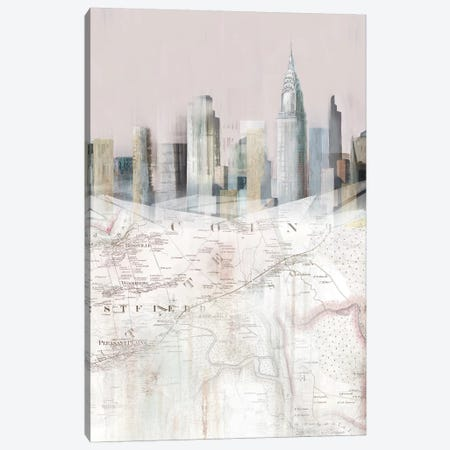 Blushing Manhattan Map II  Canvas Print #ZEE301} by Isabelle Z Canvas Art Print