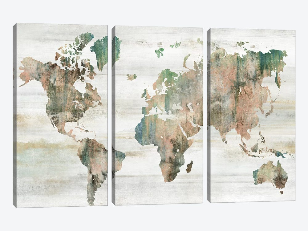 Map of the World  by Isabelle Z 3-piece Canvas Artwork