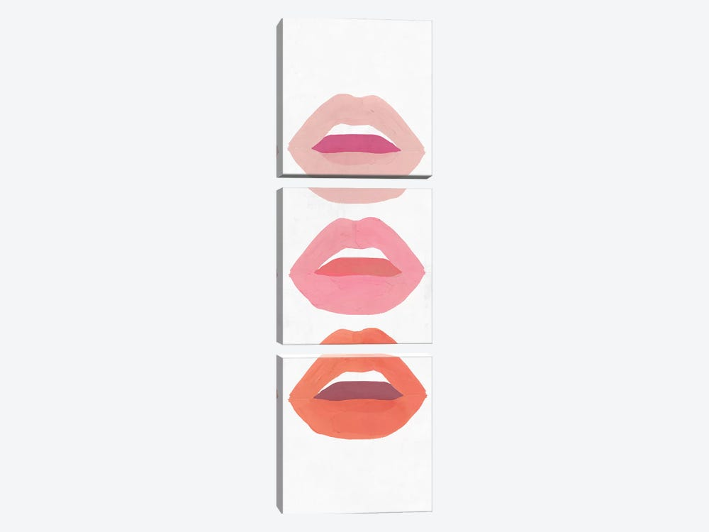 Red Lips II   by Isabelle Z 3-piece Canvas Wall Art