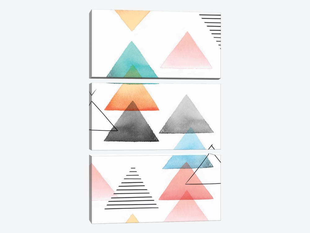 Group Of Triangles I by Isabelle Z 3-piece Canvas Print