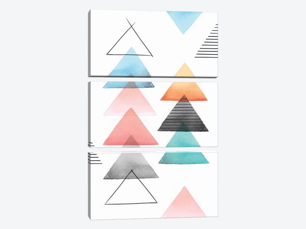Group Of Triangles II by Isabelle Z 3-piece Canvas Print