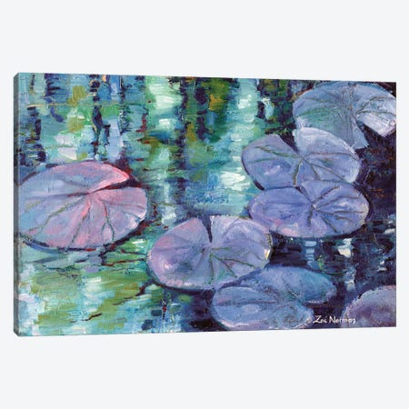 Blue Nympheas Canvas Print #ZEN10} by Zoe Elizabeth Norman Canvas Art Print