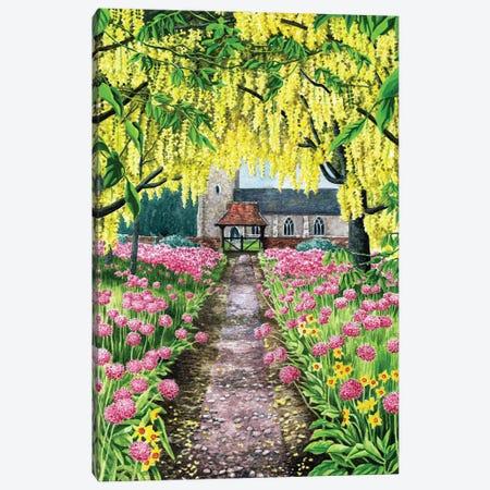 Church And Laburnums Canvas Print #ZEN15} by Zoe Elizabeth Norman Canvas Artwork