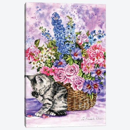 Kitten And Summer Flowers Canvas Print #ZEN20} by Zoe Elizabeth Norman Canvas Artwork
