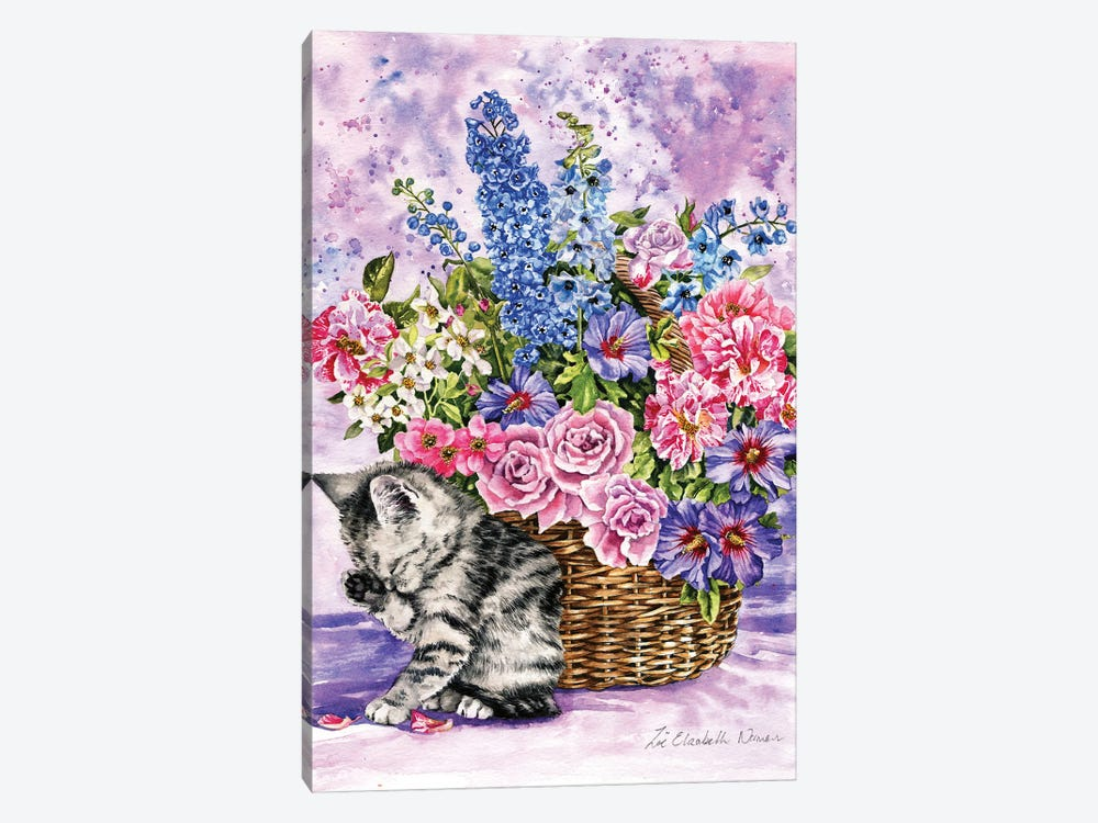 Kitten And Summer Flowers by Zoe Elizabeth Norman 1-piece Canvas Print