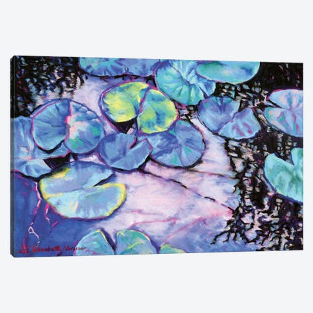 Water Lily Study In Blue Canvas Print #ZEN23} by Zoe Elizabeth Norman Canvas Artwork